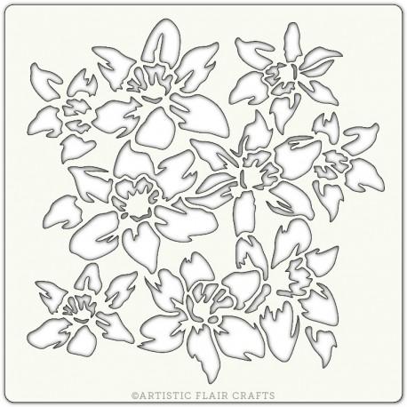 Pochoir 15 x 15 cm - Jonquilles (Daffodils)