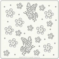 Pochoir 15 x 15 cm - Papillons et Fleurs (Summer Butterflies)