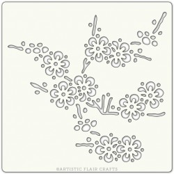 Pochoir 15 x 15 cm - Branche de cerisiers en fleurs (cherry blossom branch)