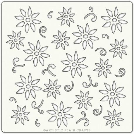 Pochoir 15 x 15 cm - Fleurs printanières (spring garden)