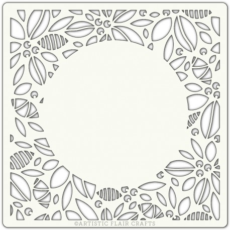 Pochoir 15 x 15 cm - Couronne Fleurs Moderne (Modern Holly Border)