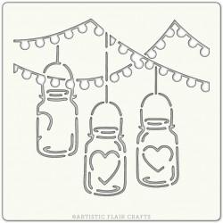 Pochoir 15 x 15 cm - Lanternes Coeurs (hanging jars)