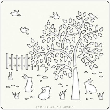 Pochoir 15 x 15 cm - Arbre et lapins (spring time)