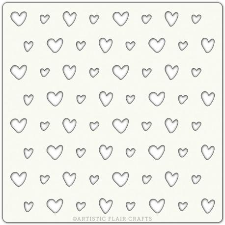 Pochoir 15 x 15 cm - Coeurs (scrappy hearts)