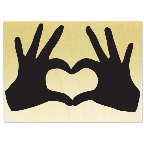 Rubber stamp - Heart with hands - big