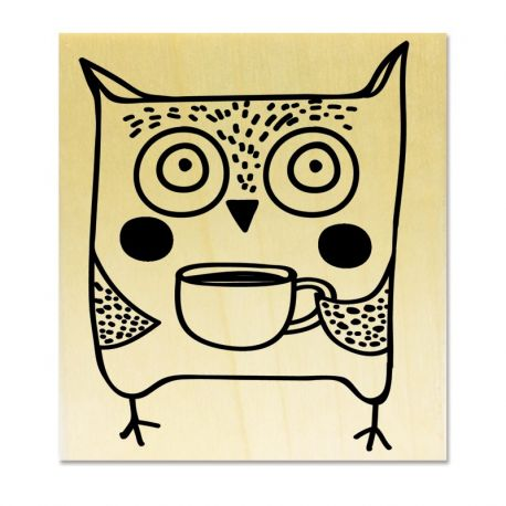 rubber stamp - Owl coffee