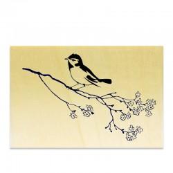Tampon Oiseau sur une branche en fleurs