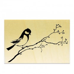 Rubber stamp - Bird on a branch (rising)