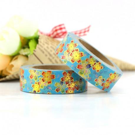 Masking Tape Foil Tape - Fleurs dorées sur fond turquoise