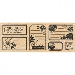 Tampon Bois Florilèges Design - Etiquettes Tropicales