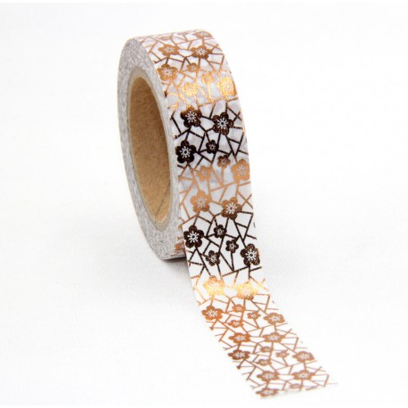 Masking Tape Foil Tape - Fleurs géométriques cuivre