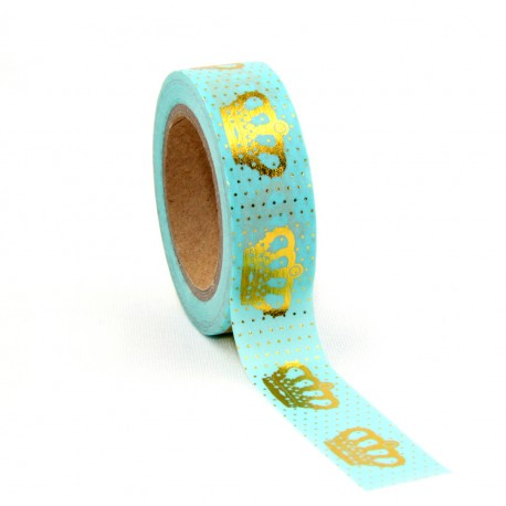 Masking Tape Foil Tape - Couronne Or fond mint