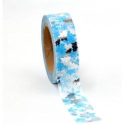 Masking Tape Foil Tape - Sapins Argent fond bleu clair