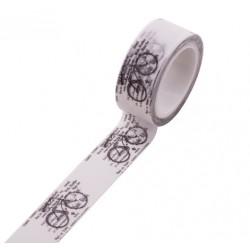 Masking Tape - Texte et Vélos noir fond blanc