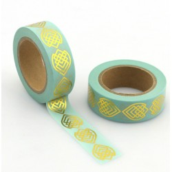 Masking Tape Foil Tape - figures géométriques or fond mint