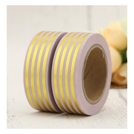 Masking Tape Foil Tape - Lignes or dans la longueur fond rose