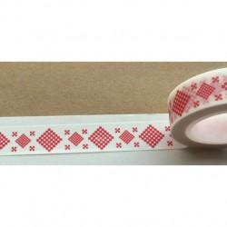 Masking Tape Noël - motifs géométriques rouges