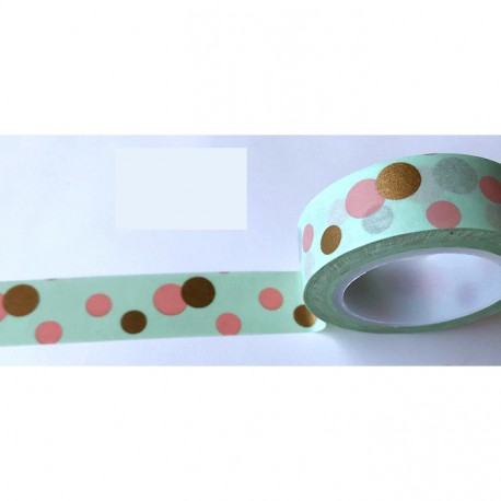 Masking Tape - Pois dorés et vieux rose fond mint