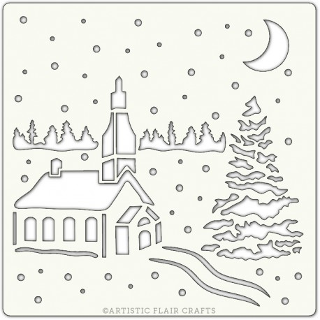 Pochoir 15 x 15 cm - Winter Church