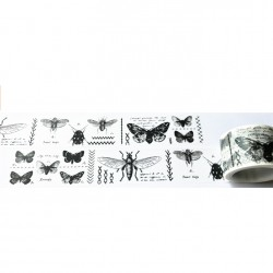 Masking Tape Large - Noir & Blanc - Insectes et Papillons