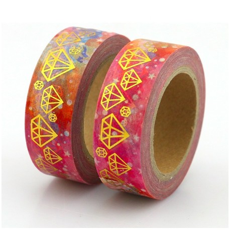 Masking Tape Foil Tape - Diamants Or fond tons rose