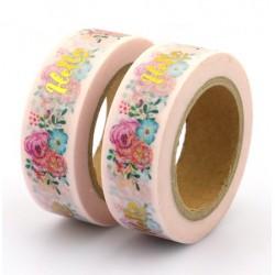 Masking Tape Foil Tape - Hello en Or fond rose et fleurs