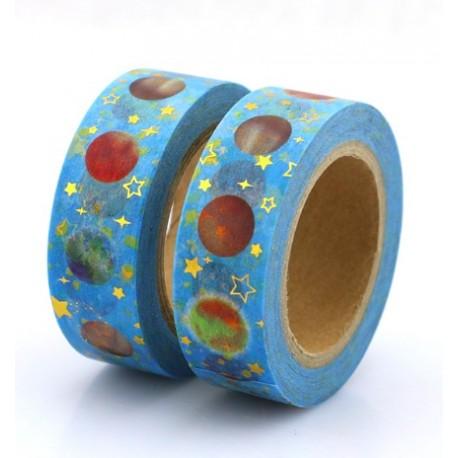Masking Tape Foil Tape - Planètes fond bleu