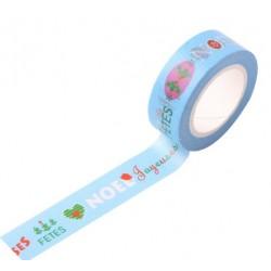 Masking Tape Noël - Joyeuses Fêtes fond bleu