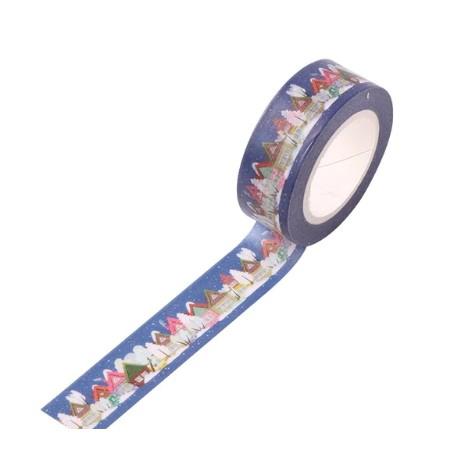 Masking Tape Noël - Village Noël fond bleu nuit
