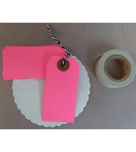 Tags Rose Fluo avec oeillet kraft - M (83 x 41 mm) (set de 10)