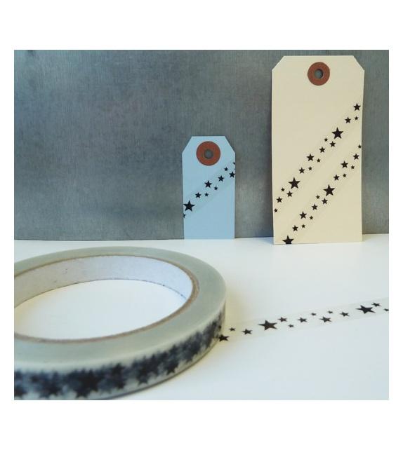 Déco Tape Transparent - Etoiles Noires