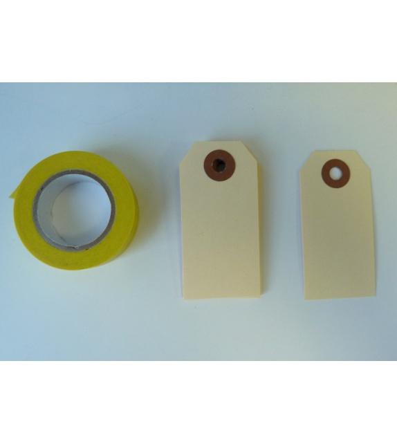 Tags Vanille avec oeilllet kraft S (35x70 mm) (set de 10)