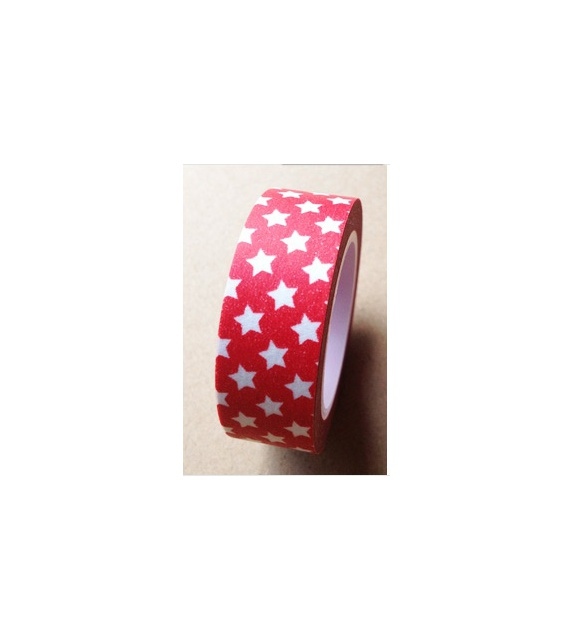 Masking Tape - Petites étoiles fond Rouge