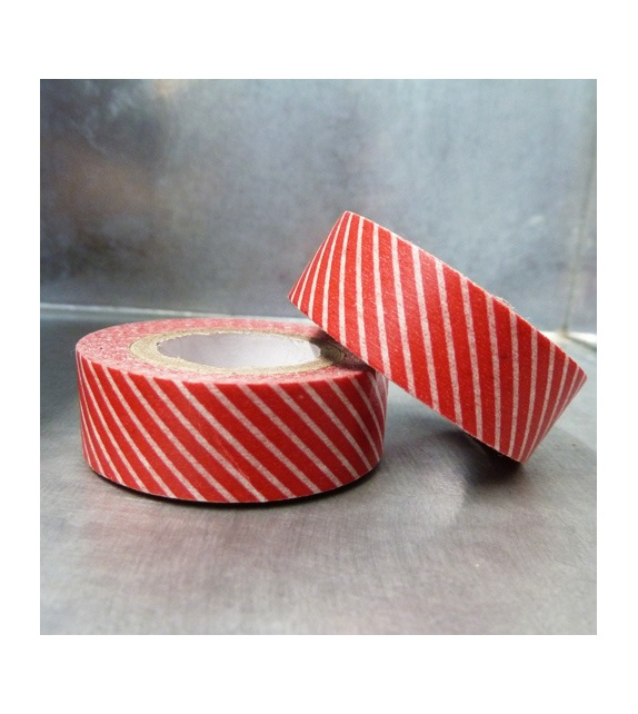 Solo masking tape - diagonales fines fond rouge