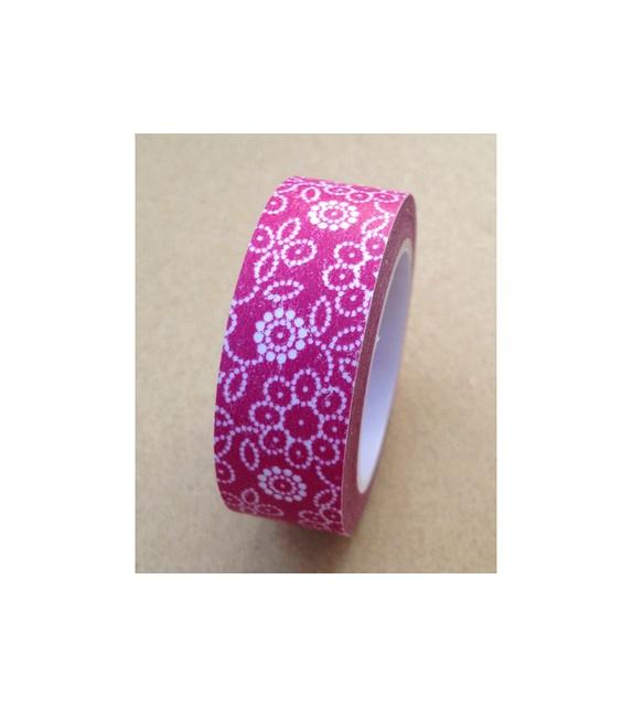 Masking tape - Fleurettes sur fond pourpre