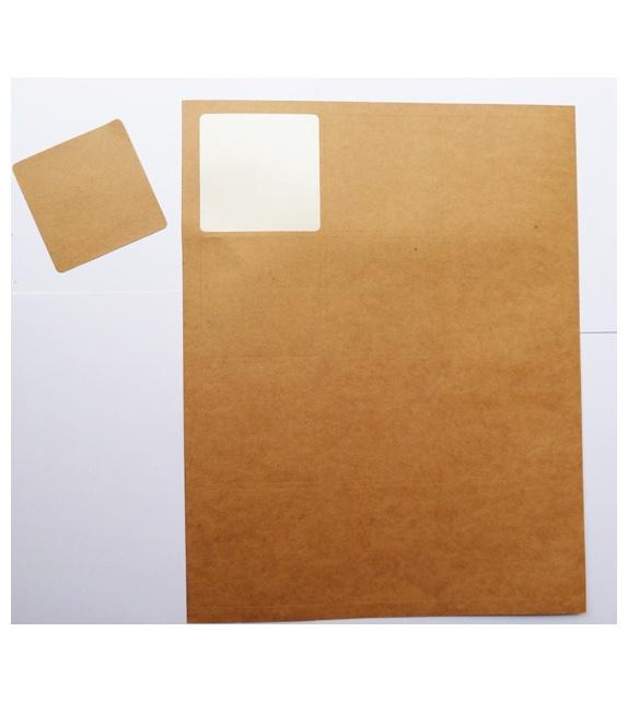 Kraft Label Sheet - 12 square labels 63 x 63 mm