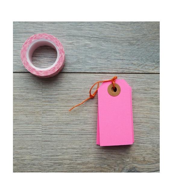 Tags avec oeillet kraft - S (35 x 70 mm ) (x 10) - Rose fluo