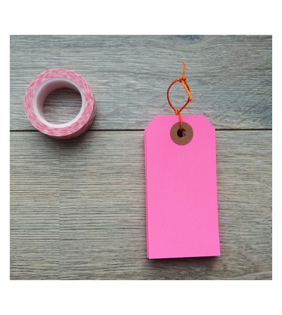 Kraft Tags 95 x 47 mm (set of 10) - Neon Pink