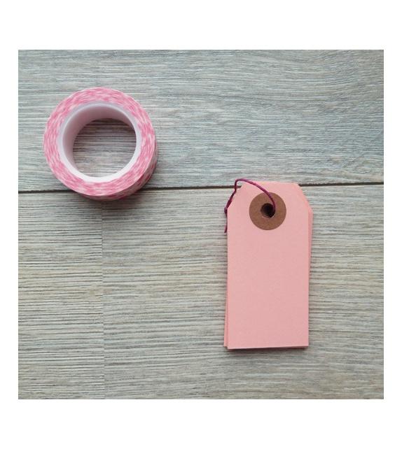 Tags avec oeillet kraft - S (35 x 70 mm) (x10) - Vieux Rose