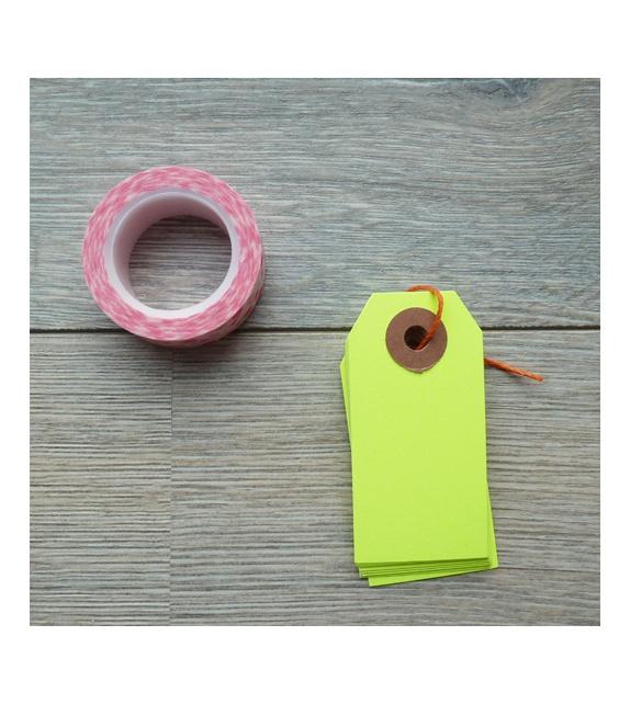 Kraft tags (set of 10) - Neon Yellow