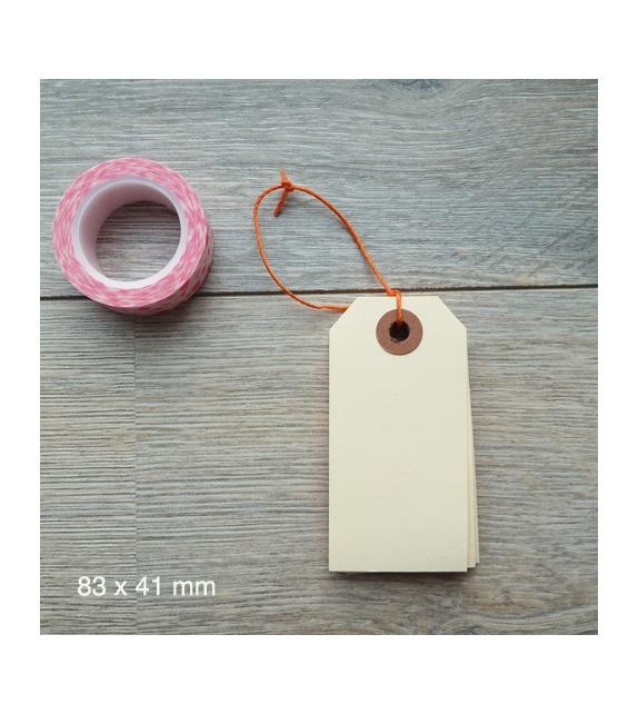 Tags avec oeillet kraft - M (83 x 41 mm) (x 10) - Vanille
