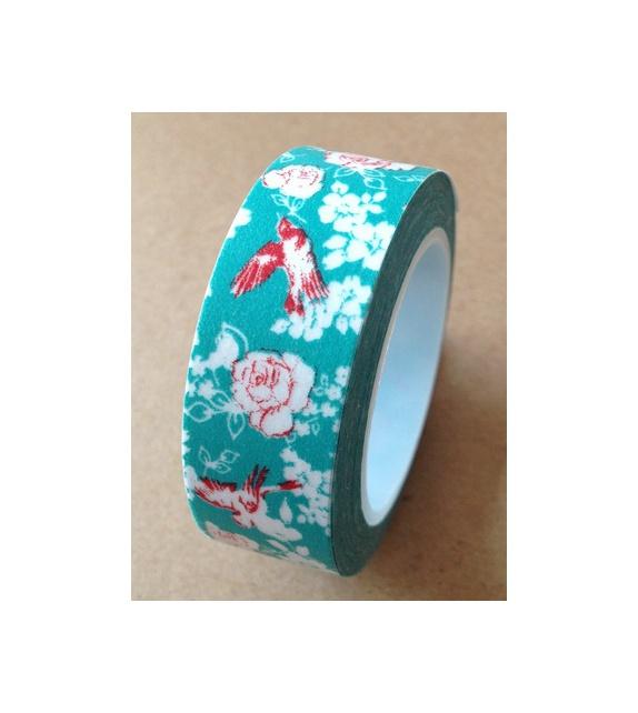 Masking tape - Oiseau & Fleurs rouges sur fond turquoise