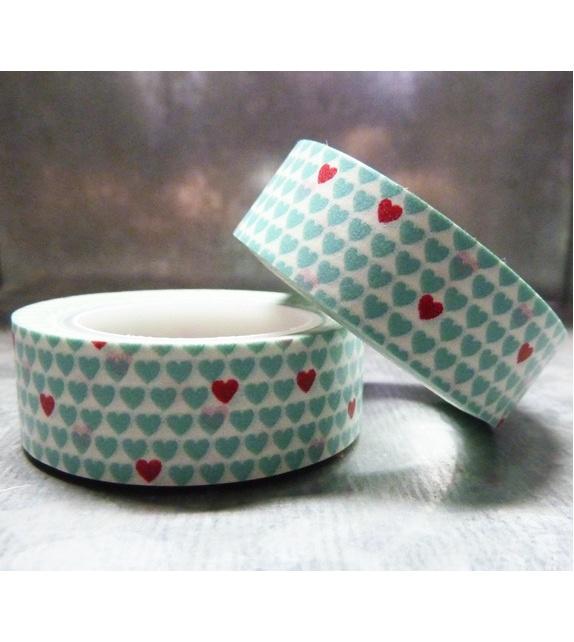 Masking tape - Petits coeurs bleu et rouge