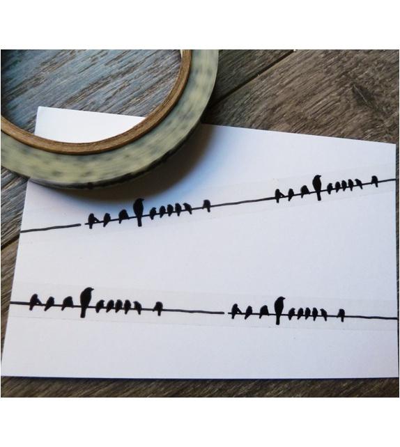 Déco Tape Transparent - Oiseaux sur un fil